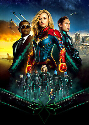 Captain Marvel Poster 2019 NEW Marvel Movie Avengers, FREE P+P, CHOOSE YOUR SIZE