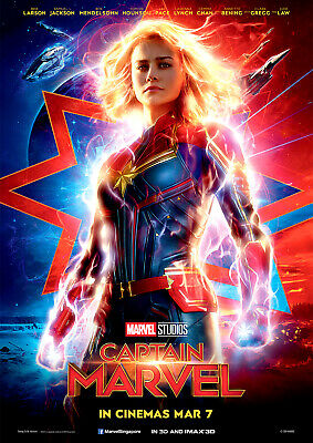 Captain Marvel Poster NEW 2019 Marvel Movie Avengers, FREE P+P, CHOOSE YOUR SIZE