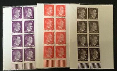 Lot - 3 Different WW2 WWII Nazi Germany 24 Adolf Hitler head stamps -MNH-