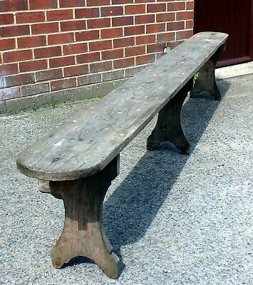 Huge Victorian antique farmhouse solid elm tavern pub hall settle bench seat