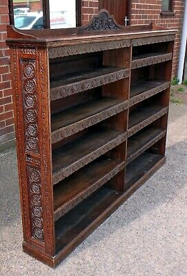 Large Victorian antique Gothic solid carved oak open library bookcase bookshelf