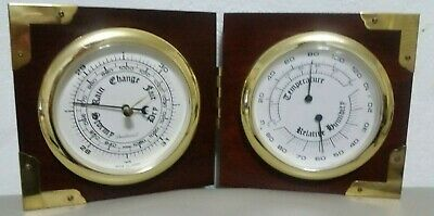 VTG Dunhaven Brass Porthole Barometer, Hygrometer, Thermometer Counter or Wall