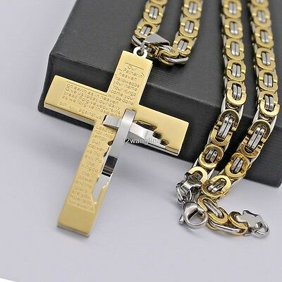 24'' Gold Silver Byzantine Box MEN Chain Stainless Steel Cross Pendant Necklace