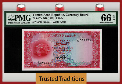 TT PK 7a ND(1969) YEMEN ARAB REPUBLIC CURRENCY BOARD 5 RIALS PMG 66 EPQ GEM UNC!
