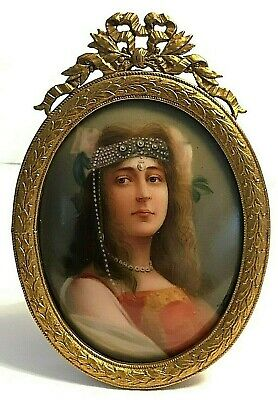 Antique Signed Wagner Hand Painted Portrait Cleopatra Plaque Ormolu Frame