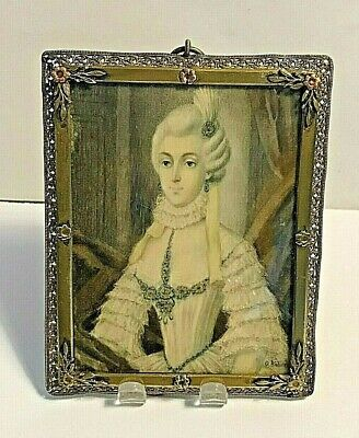 Antique Hand Painted Signed  Portrait Miniature of Beautiful Lady Framed