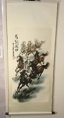 Antique Chinese Scroll Painting On Silk Of Horses.