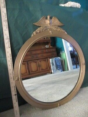 L.E. David & Co. Eagle Mirror Vintage Round Wood Frame