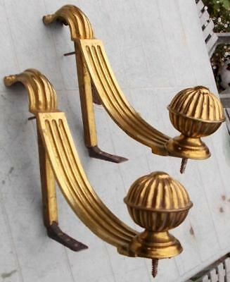 Superb Large Pair Antique French Bronze Curtain Pole Holders