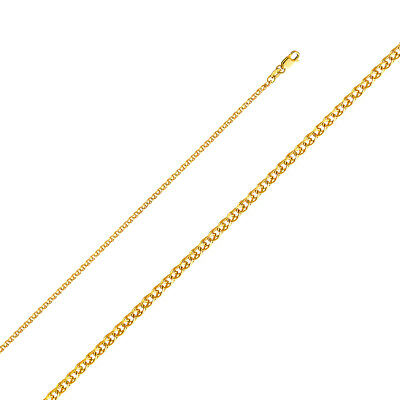"14k Yellow Gold Flat Open Wheat Chain Necklace 2 MM Thick 16""-24"" Lobster Lock"