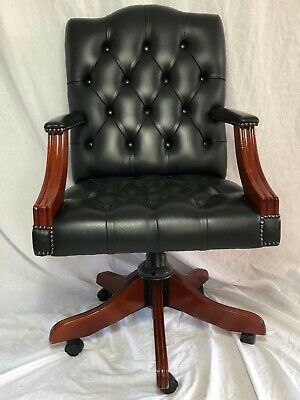 1 Original Leather Chesterfield Gainsborough Office Swivel Chair Antique Black