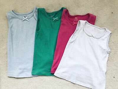Girls 4 Sleeveless Tops - Pink, Green, Blue, White Age 3-4 Years From Next