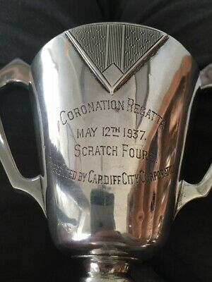 solid silver May 12th 1937 Coronation Cardiff Rowing art deco trophy, loving cup
