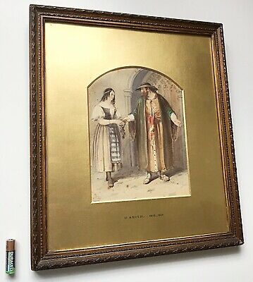 Antique Watercolour Painting Shylock & Jessica Gilt Frame Signed G. Smith 1837