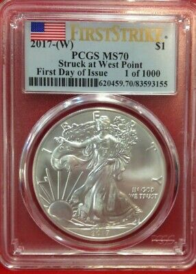 2017-(W) $1 PCGS MS70 First Strike Stuck at West Point Silver American Eagle!!!