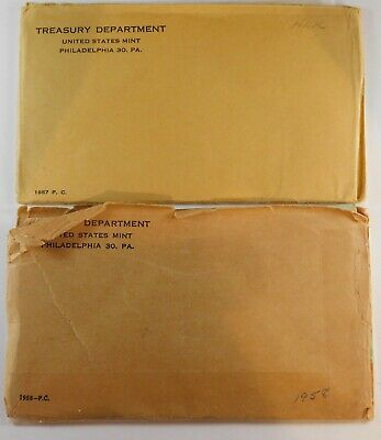 1957 1958 Proof Sets in Original Envelopes.  Estate Find Lot of 2 Sets