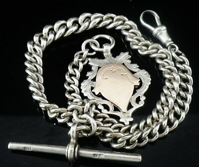 Silver Albert Pocket Watch Chain T -Bar & Fob, 1911, George Edward Gee