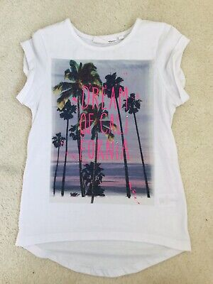 Girls White Patterned T-shirt Age 7-8 Years From BHS