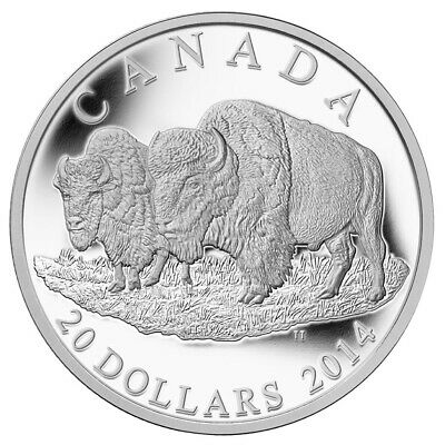 Canada 2014 $20 The Bison: The Bull And His Mate Pure Silver Coin Tax-Exempt