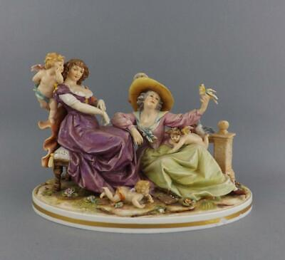 Antique Large Dresden German Porcelain Figurine of Two Ladys by Dresden C1900-10