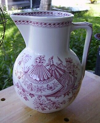 Antique Ridgeways Red FAN Pattern Pottery Large Wash Water Pitcher Aesthetic
