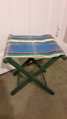Astounding Vintage Folding Stool Fishing Camp Chair Retro Canvas Oak Onthecornerstone Fun Painted Chair Ideas Images Onthecornerstoneorg
