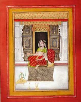 Antique Indian Miniature Court Painting Rare Mughal Portrait Of Women Fine