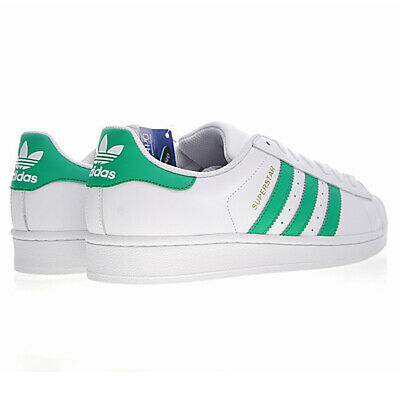 new styles 79d32 2798c adidas superstar super star bianche bianco verdi verde sneakers casual green