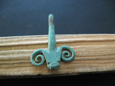 Bronze Age Ram Head Amulet Ancient Celtic Bronze Zoomorphic Talisman 900-750 B.c
