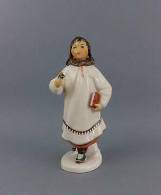 Antique Russian Soviet LFZ Figurine of Eskimo Girl with flower by S.Velihova