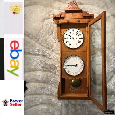 Antique Oak Usa 30 Day New Haven Double Dial Calendar Wall Clock W Pendulum.