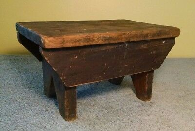 Primitive Wood Stool - (antique milking step foot wooden farm bench rustic)