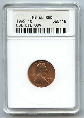1995 Lincoln Cent Penny ANACS MS 68 Red - Double Die Obverse Philadelphia BA773