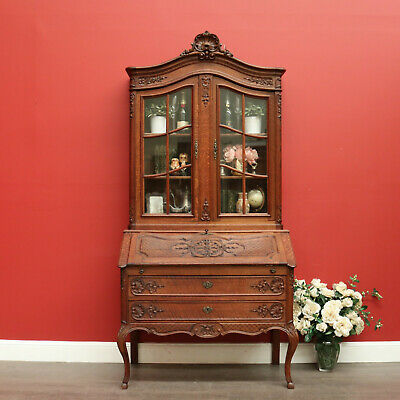 Antique French 2 Drawer 2 Door Writing Bureau with Bookcase China Cabinet Top