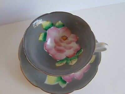 Vintage Cup and Saucer Set Shafford Hand Painted Japan Grey and Pink Flower