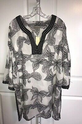 d4fb777222 Peppermint Bay Black White Tunic Top Women's 3X Coverup Paisley Butterfly  Print