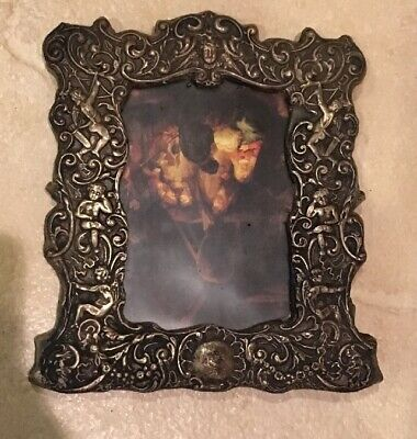 Antique Ornate English Sterling Silver Picture Frame- Cherubs,Face & Blank