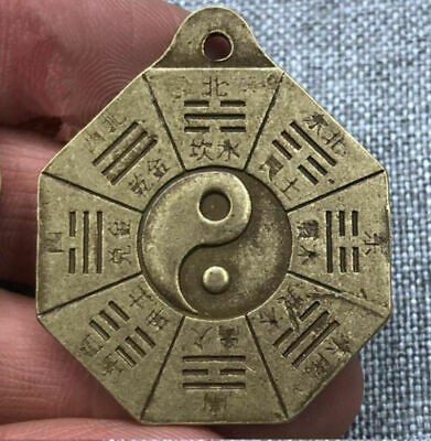 Chinese Retro bronze token statue amulet bagua Pendant old China