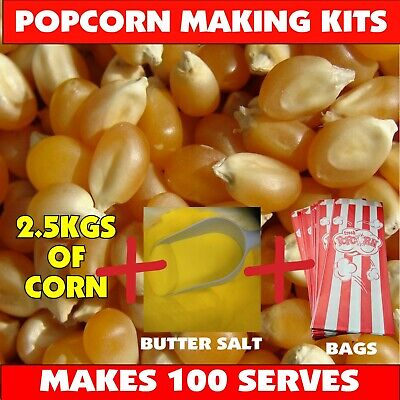 Cinema Popcorn Bulk Pack! Corn & Salt & Bags - Makes Approx 100 bags of Popcorn!