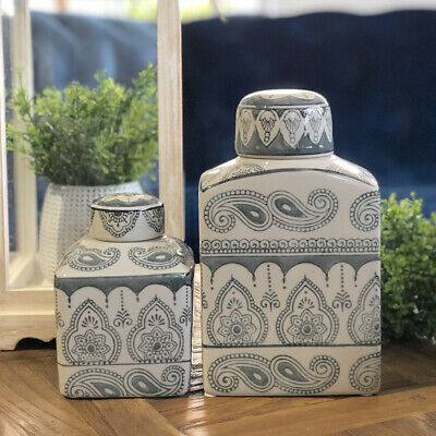 Set of 2 Grey Paisley Ceramic Temple Jars/Ginger Jars/Hampton's/Chinoiserie