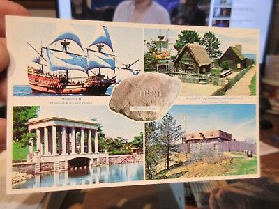 Vintage Old MASSACHUSETTS Postcard Plymouth Rock Harbor Mayflower Plimoth Homes