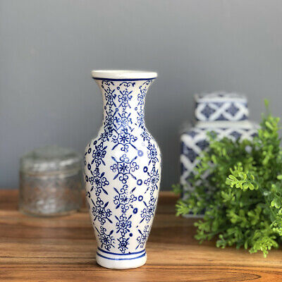 Small Blue & White Ceramic Vase/Flowers Vessel/Chinoiserie/Hamptons Coastal