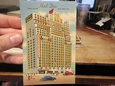 Vintage Old Postcard NEW YORK CITY Hotel Dixie Times Square Cafe Plantation Cars