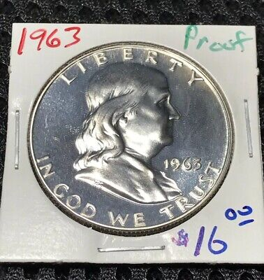 1963  Franklin  Proof   90%  Silver  Mirrored  Surfaces