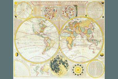 Antique World Map 1780 Carringon Bowles inch Poster 24x36 inch