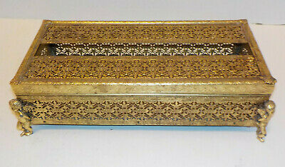 Vintage Ormolu Ornate Gold Tone Metal Oblong Dresser Kleenex Box Holder