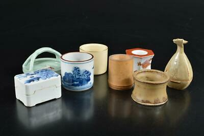 S4556: Japanese Kiyomizu-ware LID REST/Stand INCENSE CONTAINER Bundle sale