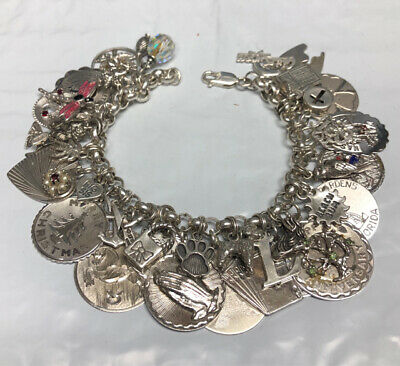 Heavy Sterling Silver Charm Bracelet Loaded with 37 Charms 99.3g