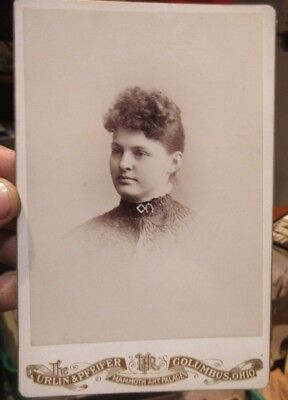 1880s Antique Old Cabinet Photo Picture Columbus Ohio Young Woman Horseshoe PIn
