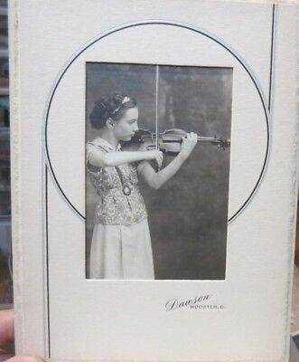 1940s Antique Old Cabinet Photo Picture Wooster Ohio Art Deco Girl Plays VIOLIN